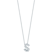 Roberto Coin 18K White Gold Diamond Accent Block Letter S Pendant