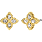 Roberto Coin 18K Gold Small 1/10 CTW Diamond Princess Flower Earrings