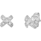 Roberto Coin 18K White Gold 1/10 CTW Diamond Pave X Earrings