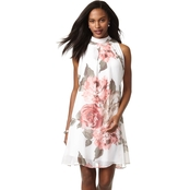 Robbie Bee Floral A-Line Chiffon Dress