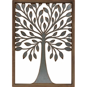 Simply Perfect Metal Tree of Life with Wooden Frame Wall Decor