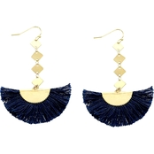 Panacea Grey Cotton Tassel Drop Earrings