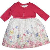 Blueberi Boulevard Girls Flower Dress with Cardigan
