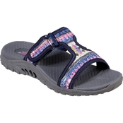 Skechers Women's Reggae Sequined T Strap Slide Sandals