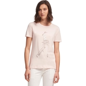 DKNY Crew Neck Top with Girl and Lace Detail Graphic