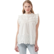 JW Ruffle Sleeve Eyelet Top