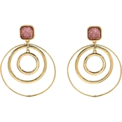 Carol Dauplaise Goldtone Pink Circle Drop Earrings