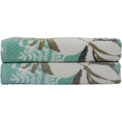 1888 Mills Peach and Oak Print Bath Towel Set 2 pk.