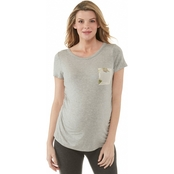 Planet Motherhood Mustard Floral Printed Mesh insert Tee