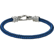Esquire Men's Stainless Steel Blue and Black Woven Bracelet