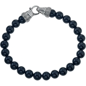 Esquire Men's Sterling Silver Onyx Beaded Bracelet