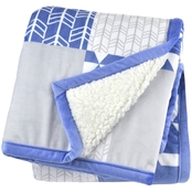 JB BLUE 2 PLY PRINTED PATCHWORK BLANKET