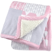 Gerber Just Born Pink 2 Ply Printed Patchwork Blanket