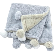 Gerber Just Born Grey Cuddleplush Pom Pom 2 Ply Blanket