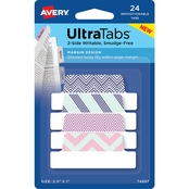 Avery Ultra Tabs Repositionable Margin Tabs, 2-1.5 x 1 in., Fashion, 24 Tabs