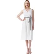 ed5bdf9295940 Calvin Klein V Neck Midi Dress with Self Belt