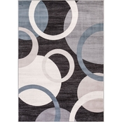 Concord Global Lara Circles Anthracite Area Rug