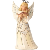 Jim Shore Heartwood Creek White Farmhouse Angel with Dog Figurine