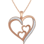 Love Honor Cherish 14K Rose Gold Over Sterling Silver Diamond Accent Heart Pendant