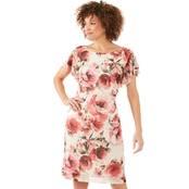 Connected Apparel Mesh Floral Ruffle Dress