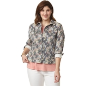 Lucky Brand Plus Size Tomboy Trucker Floral Jacket