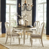 Signature Design by Ashley Realyn 5 pc. Oval Dining Set with Ribbon Back Chairs