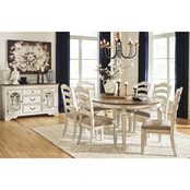 Signature Design by Ashley Realyn 7 pc. Oval Dining Set with Ladder Back Chairs
