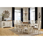 Realyn Rectangular Dining Room 9PC Set: Table w8 Ribbon Back Chairs