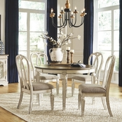 Signature Design by Ashley Realyn 7 pc. Oval Dining Set with Ribbon Back Chairs