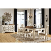 Realyn Rectangular Dining Room 7PC Set: Table w6 Ribbon Back Chairs