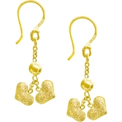 Robert Manse Designs 23K 1/4 Thai Baht Yellow Gold Pebbled Heart Drop Earrings