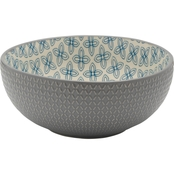 Pfaltzgraff 8 in. Serving Bowl Stoneware Gray Embossed