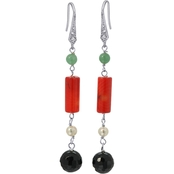 Sterling Silver Jade, Onyx and Red Coral Earrings
