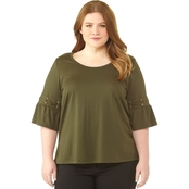 Michael Kors Plus Size Laced Flutter Sleeve Tee