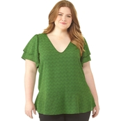 Michael Kors Plus Size Micro Reptile Double Sleeve Top