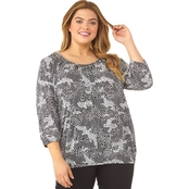 Michael Kors Plus Size Patchwork Reptile Peasant Top