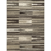 Concord Global New Casa Patch Stripes Gray 5 x 7 ft. Area Rug