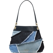 Michael Kors Raven Large Pocket Shoulder Tote Washed Denim