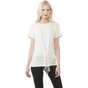 DKNY Crew Neck Top with Side Lacing