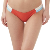 Sunsets Juniors Damsel Shiny Red Orange Color Black Swimsuit Bottom