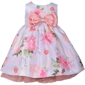 Bonnie Jean Infant Girls Floral Shantung Dress with Bow