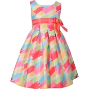 Bonnie Jean Infant Girls Shantung Brush Stroke Print Dress