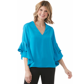 Passports Ruffle Sleeve V Neck Woven Top