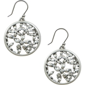 LUCKY BRAND SILVERTONE FLORAL OPENWORK COIN DROP EARRINGS