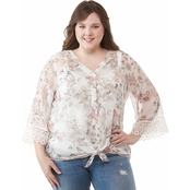 AGB Plus Size Print Yoryu Angel Sleeves Top