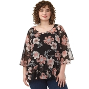 AGB Plus Size Puff Print Yoryu Top With Flounce