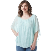 AGB Plus Size Embroidered Yoryu Popover Top