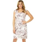 2bfec40907c0 Connected Apparel Drape Neck Tuck Waist Burnout Print Dress