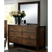 Furniture of America Elkton 6 Drawer Dresser and Mirror Set