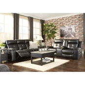 Signature Design by Ashley Kempten Reclining Sofa and Double Reclining Loveseat Set